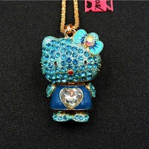 Crystal blue cat necklace